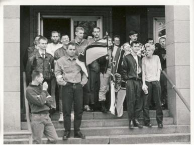 1990 als Ordner bei der DVU-Kundgebung vor der Passauer Niebelungenhalle